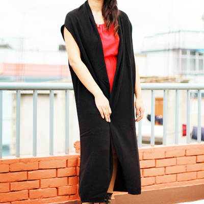 Cashmere Long Sleeveless Cardigan Dress