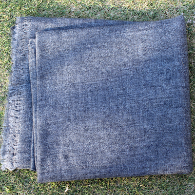 Natural Colour Pashmina Shawls in Dark Grey Colour