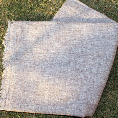 Natural Colour Pashmina Shawls in White and Grey Mix Colour