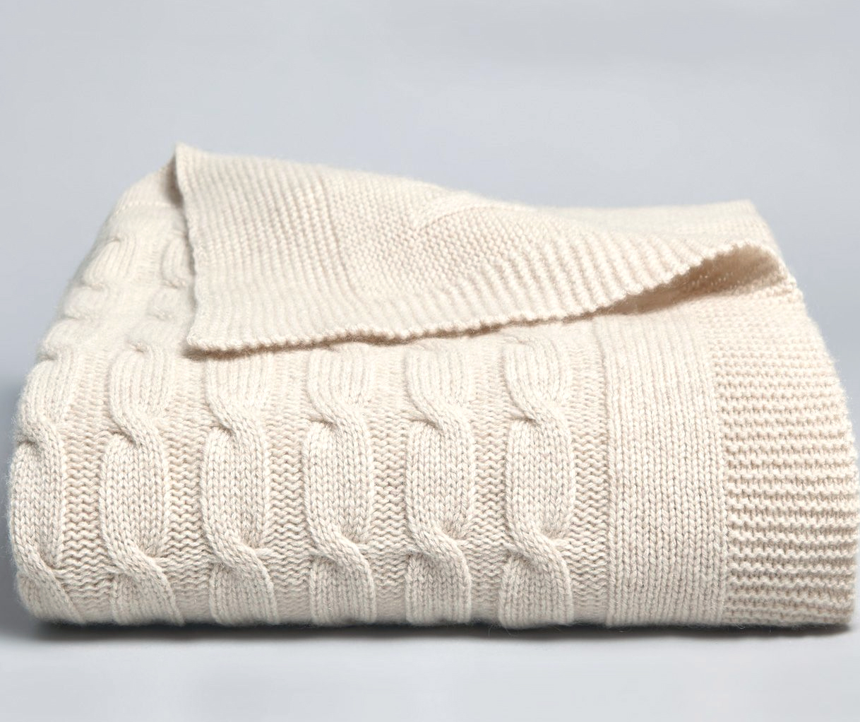 Cable Knit Cashmere Blanket