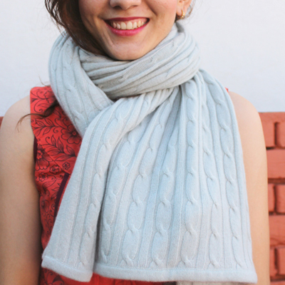 Cable Knit Cashmere Wrap