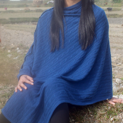Cable Knit Cashmere Poncho