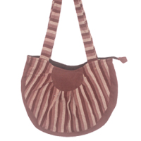 Cotton shoulder bags with the strip print design