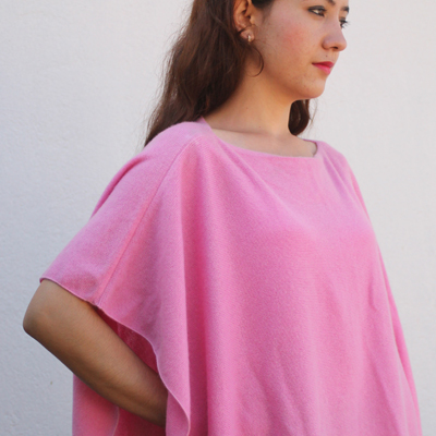 100% Cashmere Poncho in T-Shirt Design