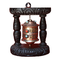 Tibetan prayer wheel with turquoise and coral