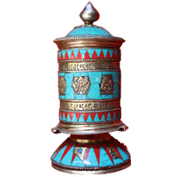 Buddhism symbols and mantra tibetan prayer wheel