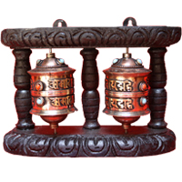 Pair tibetan prayer wheel