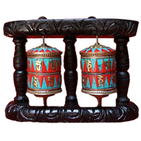 Pair tibetan mantra prayer wheel