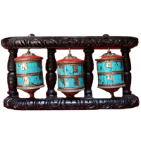 Triple tibetan mantra prayer wheel