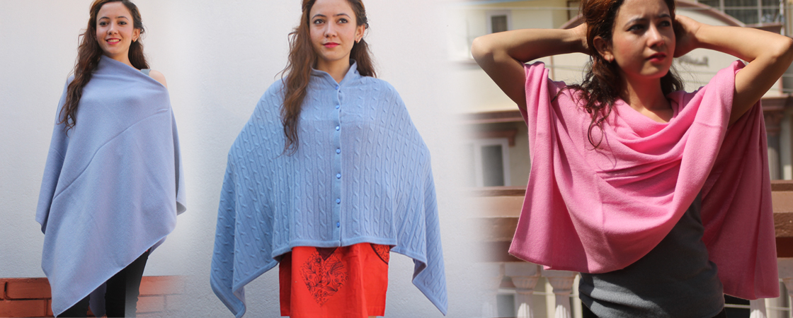 Latest pure 100% cashmere ponchos collection - Handmade in Nepal