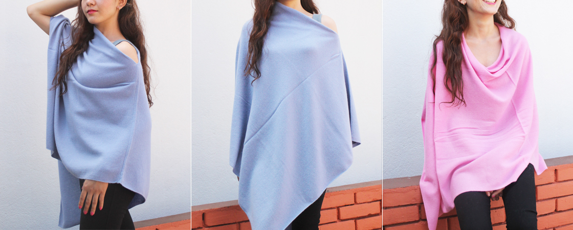 Slash Neck Poncho in 100% pure Cashmere